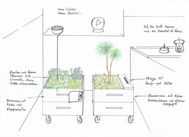 design of plant boxes for a green bathroom